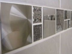 Stunning Jupiter Glass/Metal Mosaic Sheet 300 x 300mm